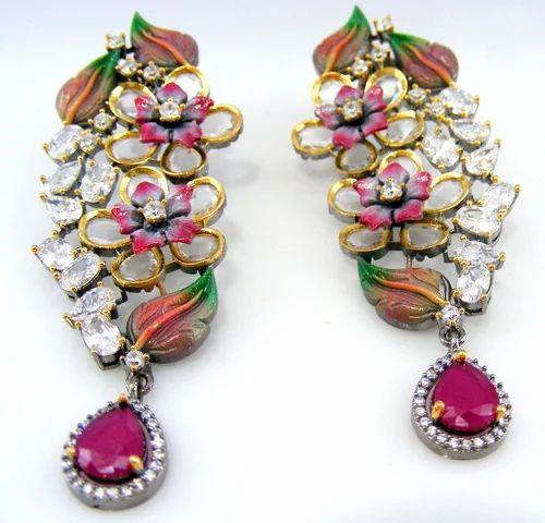 1cea1bd560d Green Stone Mughal Style Polki Earrings