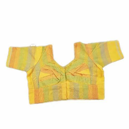 e2d9131b003f1 Yellow And Green Thai Silk Blouse
