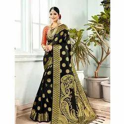 6.3 m Festive Wear Banarasi Sarees, Packaging Type: Pp Bag