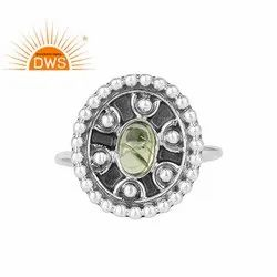 Shiny Peridot Gemstone 925 Sterling Silver Antique Oxidized Ring