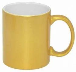 Metallic Golden Ceramic Sublimation Mug, Size: Dye Sublimation