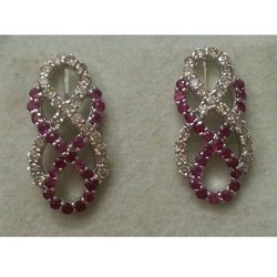 Silver 925 Ruby Diamond Latest Women Earring