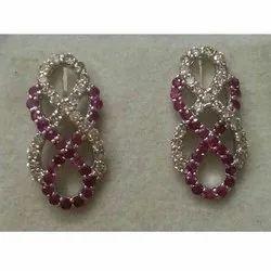 Silver 925 Ruby Diamond Latest Women Earring