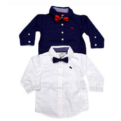 White And Blue Polka Dot Kid Party Wear Shirt