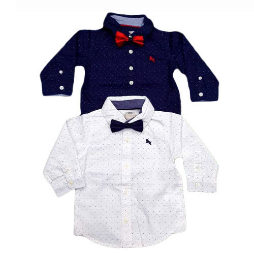 White And Blue Polka Dot Boys Kid Party Wear Shirt Rs 300 Piece
