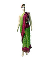 Lemon Green Pink Bandhani Cottan Saree