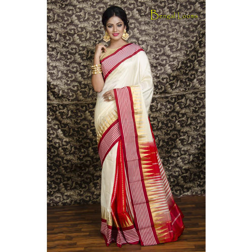 5fd00fc66a279d Kanjivaram Silk Saree in Cream and Red at Rs 6455 /piece ...