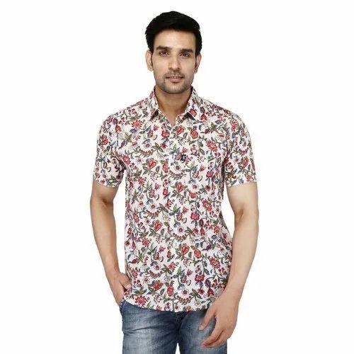 ed116631 Mens Floral Printed Half Sleeve Shirt