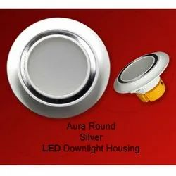 Aura Round Silver LED Downlight Housing