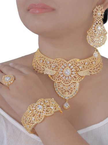 Gold Plated Choker Cubic Zircon Necklace Set
