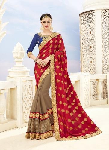 3f8840998fe23 Half fine Zari Gold Party Wear Embroidered Red   Brown Banarasi Silk Saree