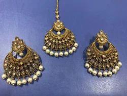 Mehandi Polish Moti Earring Tikka Set