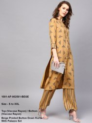 Button Down Kurta with Palazzo Set