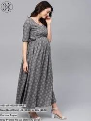 Printed Tie-Up Maternity Dress
