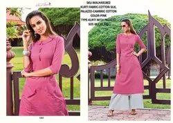 Rachna Cotton Satin Pattern Cut Catalog Kurti With Palazzo For Women 2