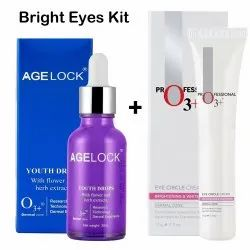 O3 Bright Eyes Kit- Eye Circle Cream and Agelock Youth Drops with flower and Herbs Extracts
