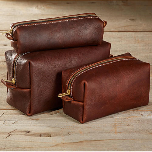 Vestta Brown Leather Toiletry Bag