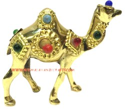 Nirmala Handicrafts Exporters Brass Camel Statue Gold Plated Hanmdade Stone Work Statue Showpiece