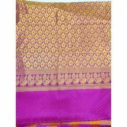 Party Wear Printed Banarasi Cotton Silk Saree, Packaging Type: Plastic Bag