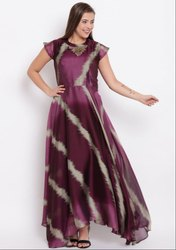 Wine and Onion Pink Georgette Long Kurti