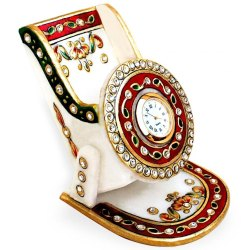 Marble Stone Studded Mobile Stand With Watch