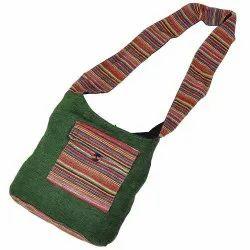 Green Cotton Designer Shoulder Bag 143, Size: 13