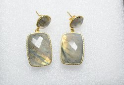 Natural Labradorite 925 Sterling Silver Handmade Valentine Earring Micron Gold Plated