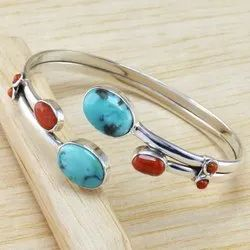 Larimar & Carnelian Gemstone 925 Sterling Silver Jewelry Fine Bangle