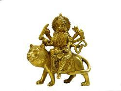 BABA N P SINGH ART IND Golden (Gold Plated) BRASS DURGA MAA STATUE