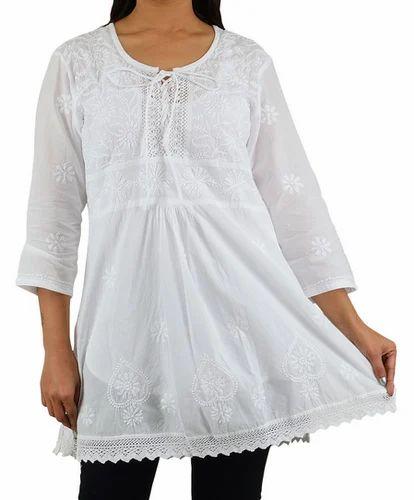 060a0161c5ed25 India Chikan A Line Short Cotton White Top Kurti, छोटी ...