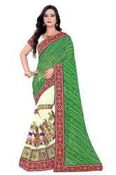 Riva Enterprise women's half&half bandhej saree