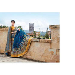 Embroidered Silk Saree with Blouse Piece