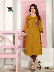 Straight 3/4th Sleeve Blue Hills Faded Rayon Fabric Embroidered Party Wear Kurti