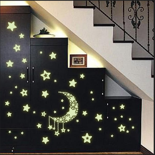royals radium moon falling stars glow in dark wall sticker, night