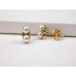 925 Sterling Silver Double Pearl Women Fresh Water Earring