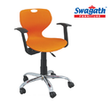 Orange Plastic Revolving Office Chair