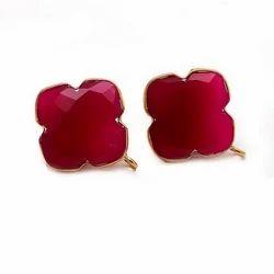Fuchsia Chalcedony Hot Elegant Pretty Style Handmade Gold Plated Earring Stud