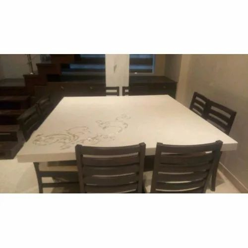 Brown And Cream Wood Dining Table Set Rs 50000 Set M S Saifi Plywood Id 20517944433