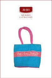 Orange And Yellow Lace Border Jute Bags Elegant Bag