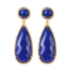 Gemstone Gold Vermeil Pave Set Teardrop Dangle Earrings