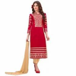 Red Colored Heavy Chanderi Unstitched Salwar Suit