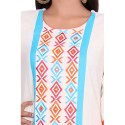 White and Red Cotton Flex Kurti