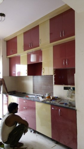 Beige Maroon Pvc Kitchen Cabinet
