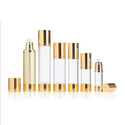 Golden Airless Bottles for Cream Lotion and Liquid Foundation