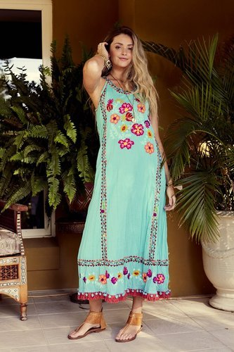 e9d3e20dc61 Cotton Sleeveless Sea Green And Blue Bohemian Maxi Dress