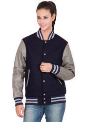 Navy Wool Body with Grey Leather Sleeves Varsity - Women