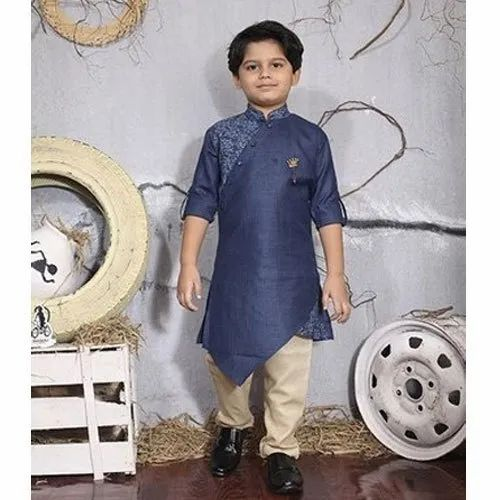 e1686765 Blue And Light Brown Boys Designer Kurta Pyjama, Packaging Type: Box ...
