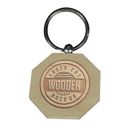 Laserable Wooden Octagonal Keyring