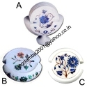 White Stone Marble Coaster Set