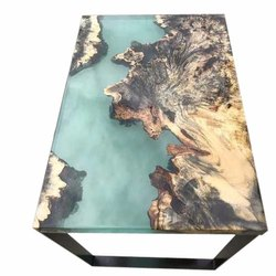 Wood And Epoxy Resin Dining Table